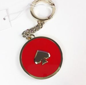 Kate Spade key fob key chain Hot Chili Red gold